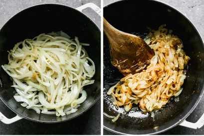 Fotos de antes y después de cebollas caramelizadas en sartén.