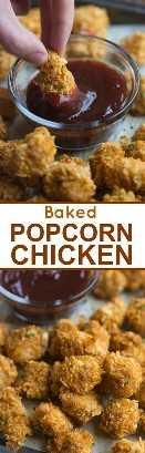 Crujiente por fuera, jugoso por dentro, pollo al horno con palomitas de maíz, ¡servido con su salsa favorita! El   Sabe mejor desde cero