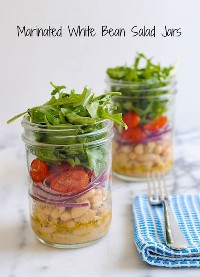 33 Saludables Ensaladas Mason Jar - Frascos de ensalada de frijoles blancos marinados