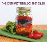 33 Ensaladas Saludables de Mason Jar - Ensalada de frijoles negros del suroeste