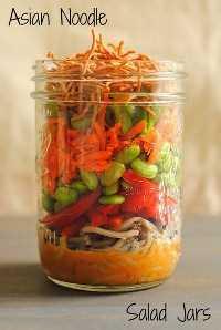 33 Ensaladas Saludables de Mason Jar - Tarro de Ensalada de Fideos Asiáticos