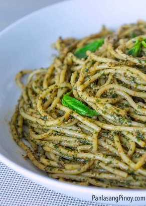 receta de pasta de espagueti con pesto de tuyo