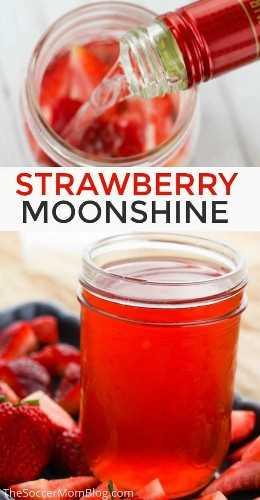 ¡Esta receta casera de fresa Moonshine es la bebida perfecta para una fiesta en el patio trasero! Haga clic para obtener instrucciones fotográficas fáciles para hacer licor de fresa con infusión. 21+