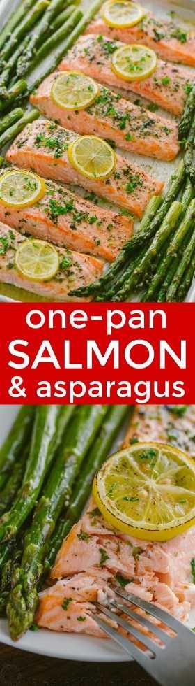 Receita de espargos de salmão de uma frigideira com manteiga de limão, alho e ervas. Cada mordida é tão suculenta e saborosa! O favorito de um leitor, um jantar de salmão de 20 minutos. O | natashaskitchen.com