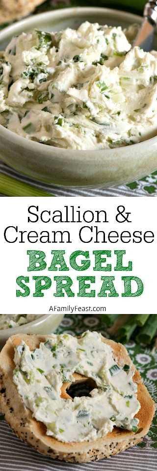 Crema de bagel y queso crema con cebollín - ¡Dos ingredientes simples harán que cualquier bagel de desayuno sea el mejor de todos!