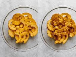 Procese las tomas que muestran la calabaza en rodajas de delicata en un tazón y luego con canela, sal, pimienta y aceite de oliva.