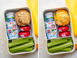 Collage de snackbox con magdalenas sabrosas y dulces para niños