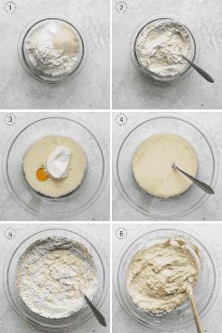 Procese tomas que muestren los ingredientes húmedos, ingredientes secos y luego todo se mezcle