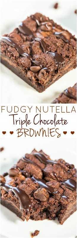 Fudgy Nutella Triple Chocolate Brownies - ¡SIN huevos, SIN aceite, SIN gluten y nunca los extrañará! ¡Relleno de Nutella, chispas de chocolate y dulce de chocolate! ¡Rápido, fácil y sabe increíble!
