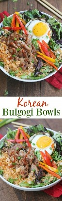 Korean Bulgogi bowls are full of flavor and absolutely delicious! Simple marinated pork served on kimchi fried rice with green leafy vegetables and a fried egg on top. This dish is better than take away and easy to prepare from home! The | Tastes better from scratch