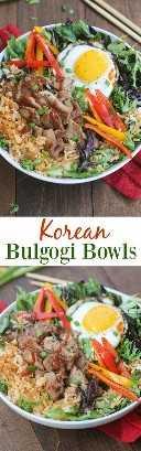 ¡Los cuencos de Bulgogi coreanos están llenos de sabor y son absolutamente deliciosos! Cerdo marinado simple servido sobre arroz frito kimchi con verduras de hoja verde y un huevo frito encima. ¡Este plato es mejor que para llevar y fácil de preparar desde casa! El | Sabe mejor desde cero