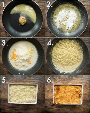 Como fazer macarrão com queijo assado com alho assado - 6 fotos passo a passo