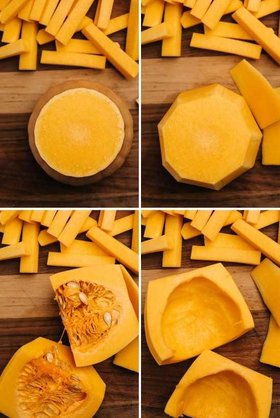 Uma colagem mostrando como cortar uma abóbora para fazer formas de fritar.