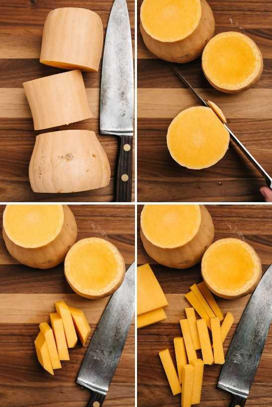 Uma colagem mostrando como cortar uma abóbora em uma fritada.
