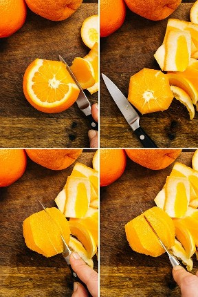 A collage showing how to section supreme oranges.