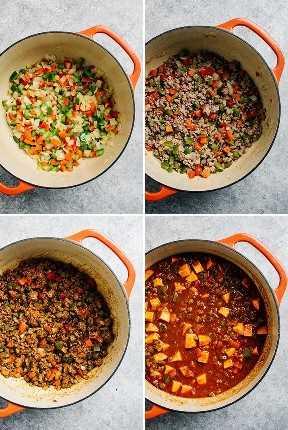 Un collage que muestra cómo hacer chile entero30 con carne molida y batatas.