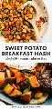 Collage de Pinterest para una receta vegana de hash de camote.