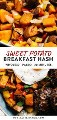 Collage de Pinterest para receta vegana y hash de batata integral30.