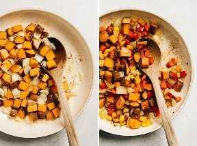 Fotos paso a paso que muestran cómo hacer una receta de hash de camote.