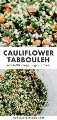 Collage de Pinterest para la receta de tabulé de coliflor.