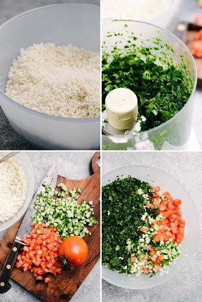 Un collage de imágenes que muestran cómo hacer un tabulé de coliflor Whole30.