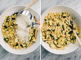 Dos imágenes collage que muestra cómo tirar calabacín y pasta de maíz con queso parmesano.