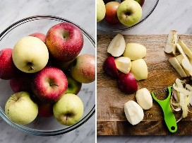 A large glass bowl filled with a variety of apples, and sliced ​​and cored apples on a cutting board.