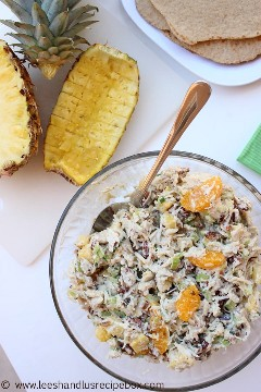 This is not your grandmother's chicken salad! Try this refreshing new Aloha Chicken Salad filled with sweet and savory tropical flavors in a buttery croissant or homemade wrap!