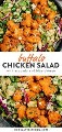 Pinterest collage for a gluten free chicken and buffalo chicken salad recipe.