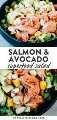 Pinterest image for salmon and avocado salad.
