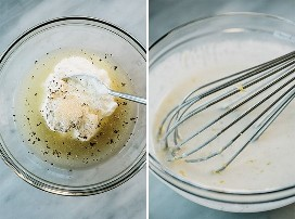 Two images showing the first steps in making a creamy lemon dressing.