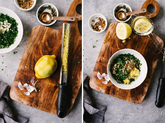 Image on the left: a grated lemon on a wooden cutting board. Right image: A small white bowl filled with ingredients for Italian green sauce on a wooden cutting board.