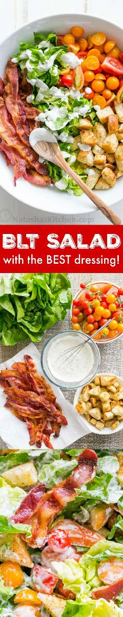 A BLT salad loaded with fresh lettuce, crispy bacon, bright tomatoes, crispy croutons, and the BLT salad dressing is exceptional. Easy, excellent salad! The | natashaskitchen.com