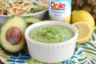 This avocado and pineapple dressing is made with DOLE pineapple juice, fresh herbs, and a ripe avocado, for a creamy dressing that's ideal for kale or broccoli salad!