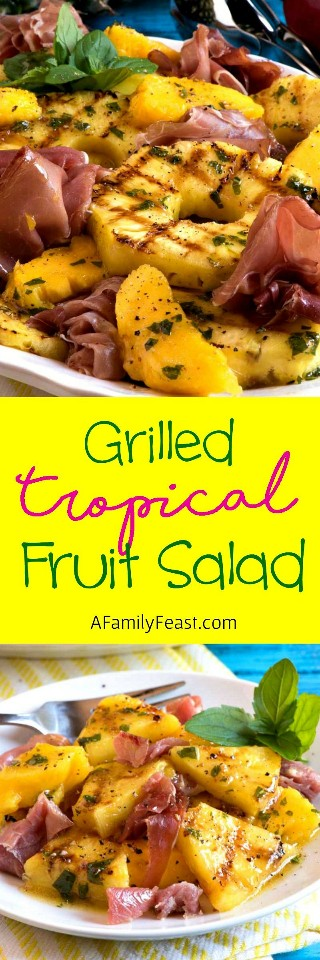 The sweet and savory flavors in this Grilled Tropical Fruit Salad with Ham will make your palate dance!