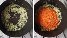 Colagem de duas imagens de uma panela com cebola e adicionadas lentilhas vermelhas