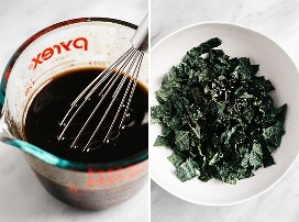 Balsamic vinaigrette in a glass bowl and a large bowl of kale sprinkled with dressing.