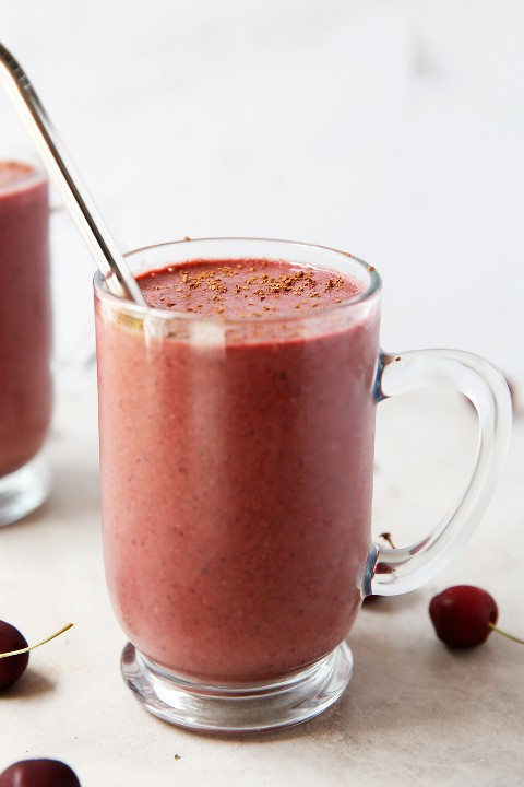 chocolate and cherry smoothie in a glass