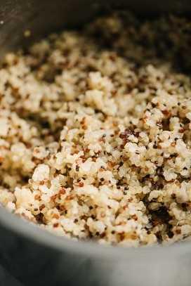 Perfect fluffy quinoa in a sauce pot.