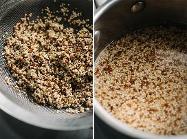 A sieve of rinsed quinoa and quinoa in a small saucepan covered with water.