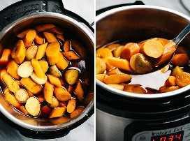 Una cuchara ranurada con zanahorias y papas cocidas de una olla instantánea asado.