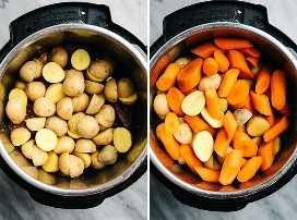 Olla asada en la olla instantánea cubierta con papas y zanahorias.