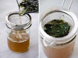 Cómo colar el jarabe simple de menta y albahaca.