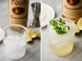 Cómo convertir la limonada de menta y albahaca en un cóctel de verano con vodka de Tito sin gluten.