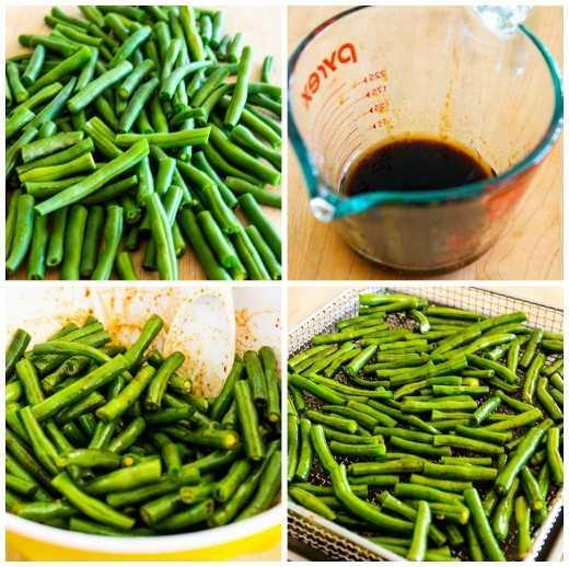 Fácil fritadeira verde feijão verde asiático colagem foto