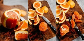 Three images that show how supreme an orange is.