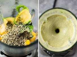 Izquierda: semillas de mango, aguacate y cáñamo en una licuadora. Derecha: un licuado de mango y aguacate mezclado.