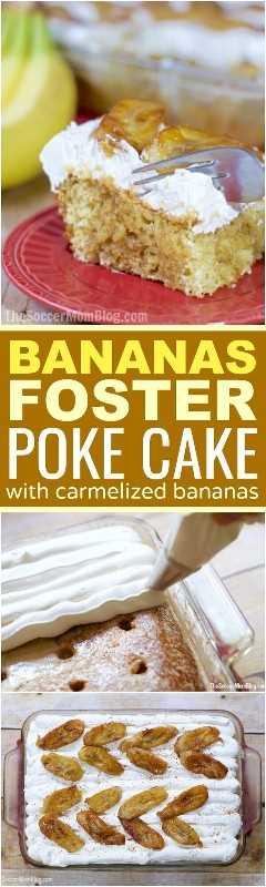 Rebozado de pastel con infusión de plátano, natillas de plátano caseras, con canela caramelizada, plátanos para fomentar la cobertura. ¡Tan cremoso y decadente!