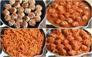 collage de cocinar albóndigas y espagueti