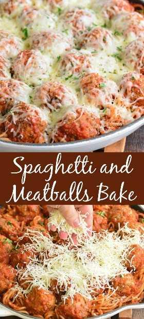 collage de espaguetis y albóndigas